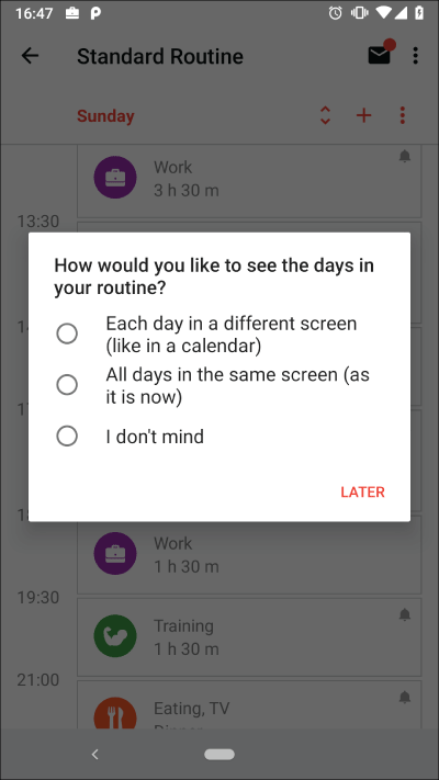 Version 2.6 - Survey about routine layout
