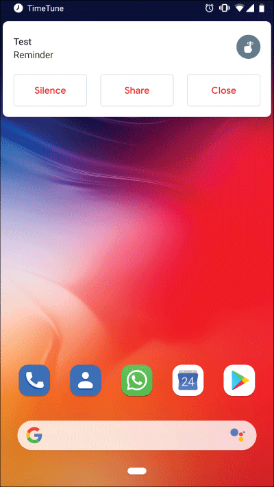 Pop-ups as heads-up notifications when the screen is on in TimeTune 2.6.4